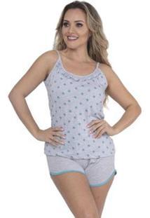 Pijama Victory Verão Glitter Short Doll E Alcinha Feminino - Feminino-Verde Escuro