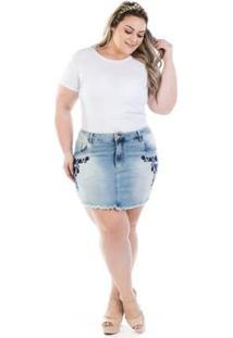 Mini Saia Jeans Squash Com Bordado Plus Size - Feminino-Azul