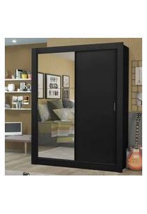Guarda-Roupa Solteiro Madesa Dallas Plus 2 Portas De Correr Com Espelho 4 Gavetas Preto Cor:Preto