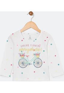 Blusa Infantil Estampa De Bicicleta - Tam 1 A 4 Anos