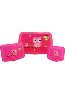 Conjunto Garrafa E Pote Infantil De 4 Peças Jacki Design Sapeka Pink