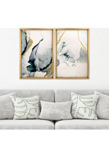 Quadro Love Decor Com Moldura Chanfrada Abstrato Madeira Clara - Grande