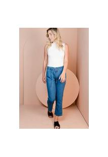 Calça Mom Sisal Jeans Jogger Blue Jeans