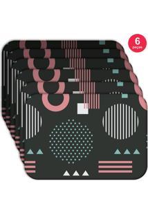 Jogo Americano Love Decor Wevans Geometric Pink Kit Com 6 Pçs
