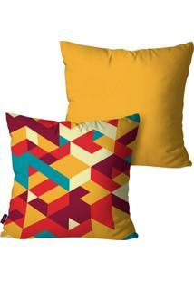 Kit Com 2 Capas Para Almofadas Pump Up Decorativas Ocre 3D Colors 45X45Cm - Amarelo - Dafiti