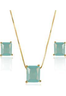 Conjunto Pingente E Brinco Quadrado De Cristal Azul Leitoso E Corrente Veneziana