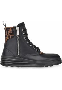 Fendi Ankle Boot Com Acabamento De Logo Ff - Preto