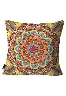 Capa Para Almofada Mdecore Mandala 45X45Cm Multicolorido