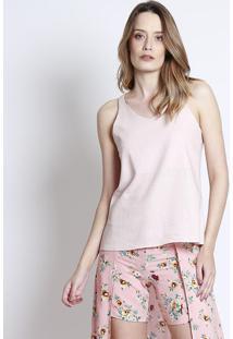 Blusa Em Linho Com Recorte Vazado- Rosa Claro- Linholinho Fino