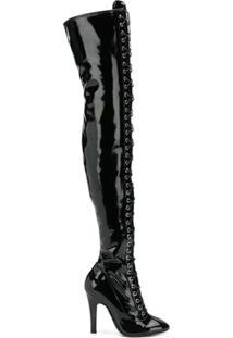 Moschino Bota Over The Knee Com Cadarço - Preto