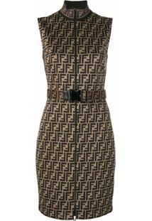 Fendi Vestido Acinturado Com Logo Ff - Marrom
