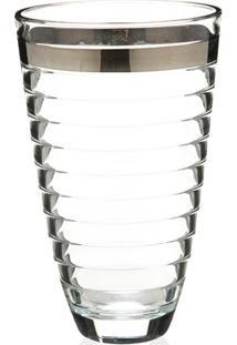 Vaso Em Vidro Transparente Baguette Faixa Prata 30Cm