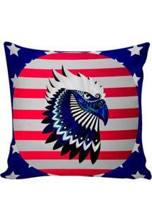 Capa De Almofada American Flag- Vermelha & Azul Marinho