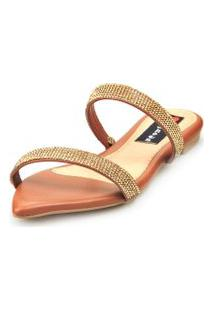 Sandalia Love Shoes Rasteira Bico Folha Strass Delicada Caramelo