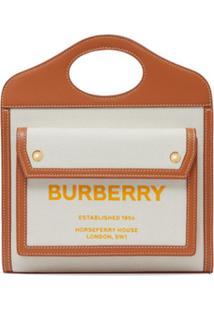 Burberry Bolsa Bicolor De Couro E Canvas - Neutro