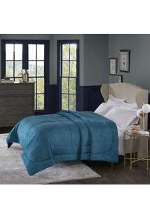 Cobertor Alaska Queen Arquimedes Azul Adriático - 100% Poliéster - Home Design - Corttex
