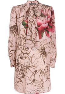 Alberta Ferretti Vestido Floral Com Laço Na Gola - Rosa