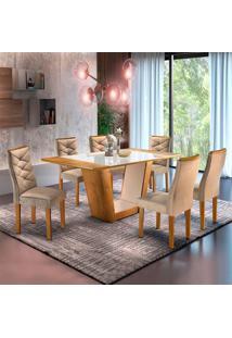 Conjunto De Mesa De Jantar Viggor Com 6 Cadeiras Rivieira Suede Ypê E Bege