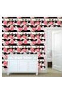 Papel De Parede Adesivo - Rosa E Listras - Floral - 304Ppf
