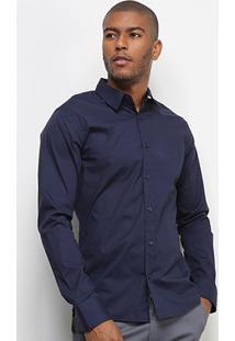 Camisa Colcci Fit Manga Longa Masculina - Masculino-Azul Escuro