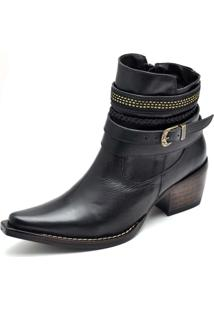 Bota Country Bico Fino Top Franca Shoes Preto