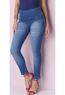Calça Skinny Cropped Azul