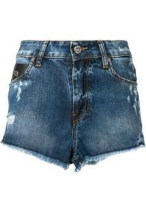 John Richmond Bermuda Jeans Com Estampa 'Rich' - Azul