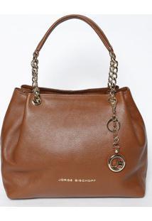 Bolsa Em Couro Com Bag Charm- Marrom & Dourada- 28,5Jorge Bischoff