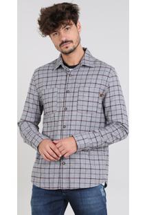 Camisa Masculina Estampada Xadrez Com Bolsos Em Flanela Manga Longa Cinza Mescla