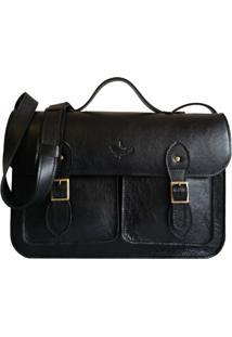 Bolsa Line Store Leather Satchel Pockets Grande Couro Preto.