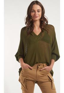 Blusa Rosa Chá Topazio Ii Tricot Verde Feminina (Thyme, M)