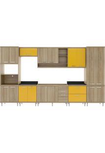 Cozinha Completa Com Balcão Sem Tampo 8 Peças 17 Portas Sicília Multimóveis Argila/Amarelo