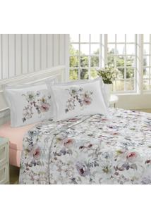 Jogo De Cama King Size Lepper Ambiance 200 Fios Floral Rosa