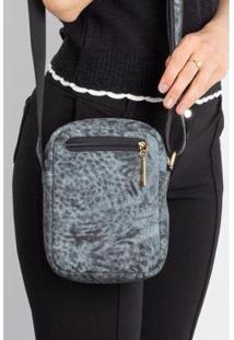 Bolsa Feminina Shoulder Bag De Couro Estampado Pietra - Feminino-Azul