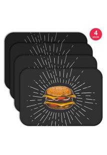 Jogo Americano Love Decor Wevans Hamburguer Kit Com 4 Pçs