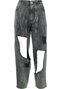 Philosophy Di Lorenzo Serafini Calça Jeans Com Paetês E Tachas - Cinza
