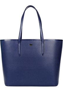 Bolsa Couro Lacoste Tote Chantaco Piqué Feminina - Feminino-Azul