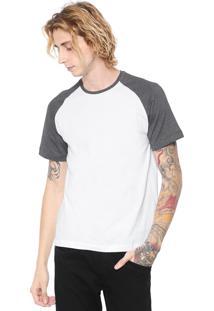 Camiseta Fiveblu Manga Curta Raglan Branca/Grafite