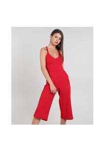 Macacão Feminino Pantacourt Com Bolsos Alças Cruzadas Vermelho