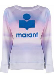 Isabel Marant Étoile Suéter Com Logo E Estampa Aquarelada - Azul