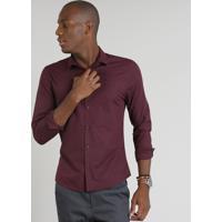 Camisa Masculina Slim Estampada Manga Longa Vinho CEA 93e7a3fcd4