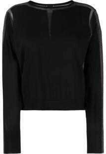Pinko Suéter Translúcido Com Recorte De Brilho - Preto