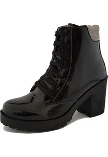 Bota Navit Shoes Tratorada Em Verniz Preto