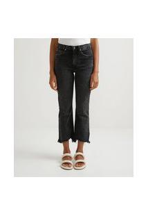 Calça Cropped Flare Jeans Com Barra Desfiada