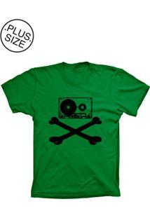 Camiseta Lu Geek Plus Size Fita Caveira Verde
