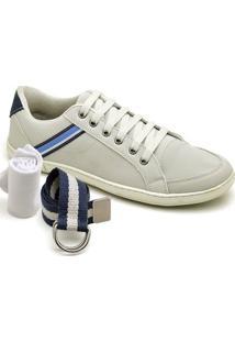 Kit Sapatênis Dexshoes Com Cinto E Meia Casual - Masculino-Off White