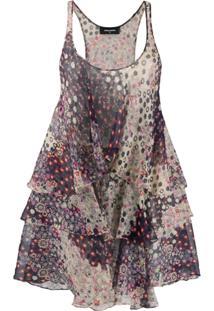 Dsquared2 Vestido Curto Com Estampa Floral E Amarração - Roxo