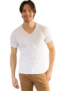 Camiseta Versatti Fram Gola V Branca