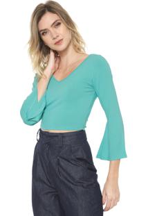 Blusa Cropped Mercatto Mangas Flare Verde