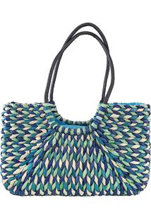 Bolsa Its! Tote Palha Colorida Azul - Kanui